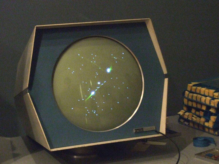 La schermata di gioco di Spacewar.